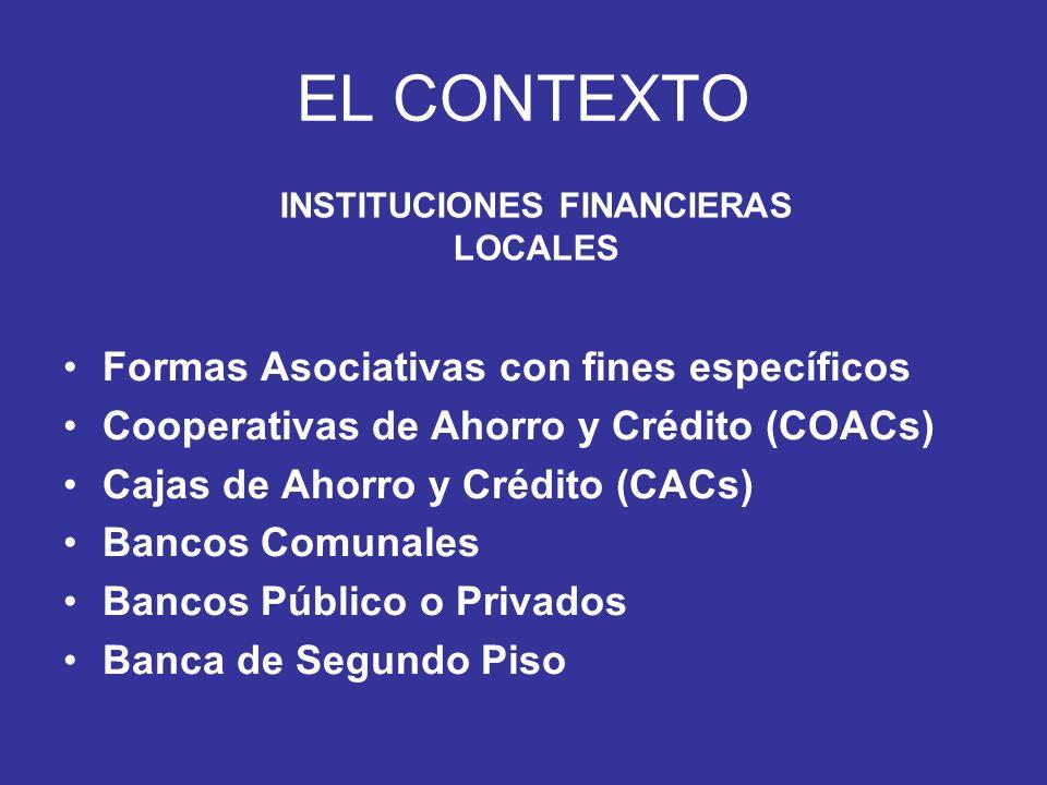 EL CONTEXTO Formas Asociativas con fines específicos Cooperativas de Ahorro y Crédito (COACs) Cajas de Ahorro y Crédito (CACs) Bancos Comunales Bancos