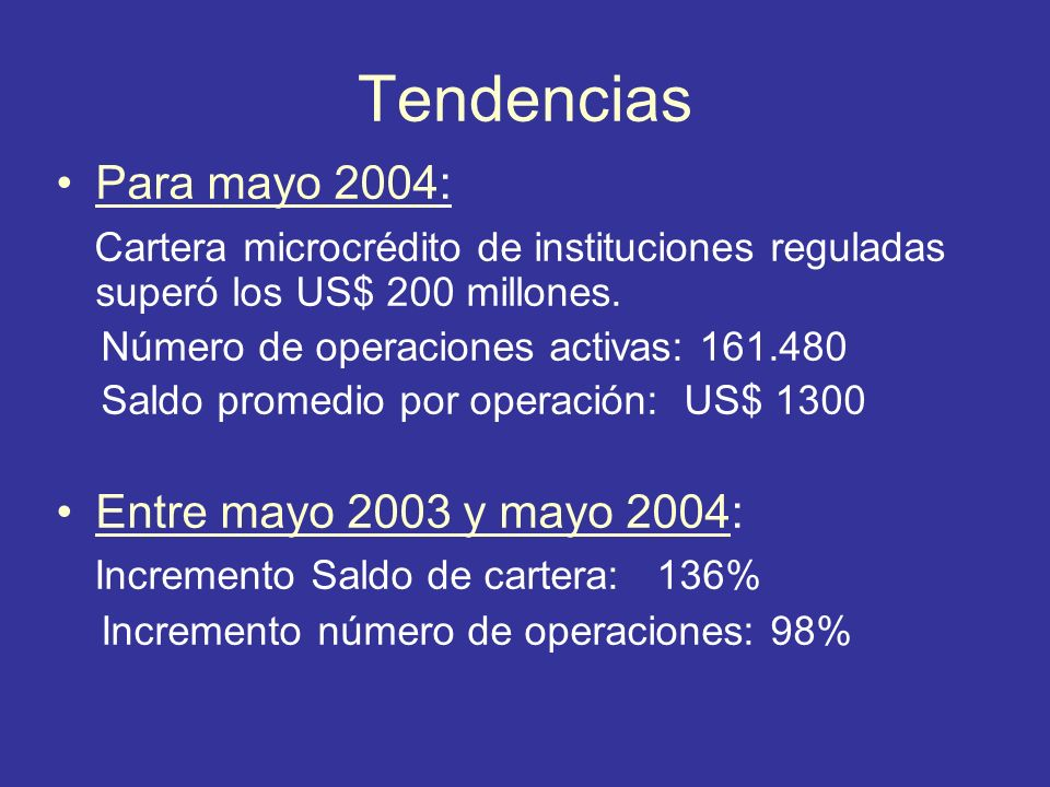 Tendencias Para mayo 2004: Cartera microcrédito de instituciones reguladas superó los US$ 200 millones. Número de operaciones activas: 161.480 Saldo p