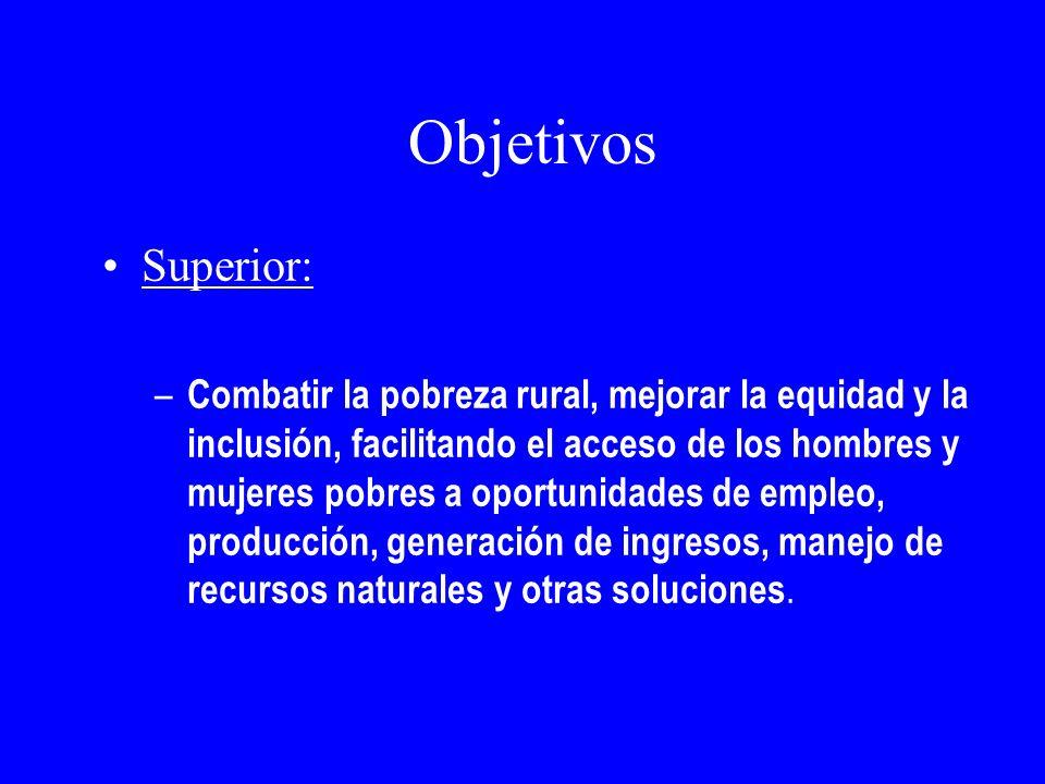 Objetivos Superior: – Combatir la pobreza rural, mejorar la equidad y la inclusión, facilitando el acceso de los hombres y mujeres pobres a oportunida