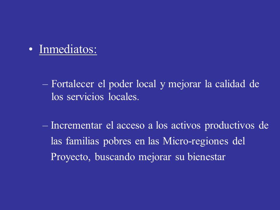 Inmediatos: –Fortalecer el poder local y mejorar la calidad de los servicios locales. – Incrementar el acceso a los activos productivos de las familia
