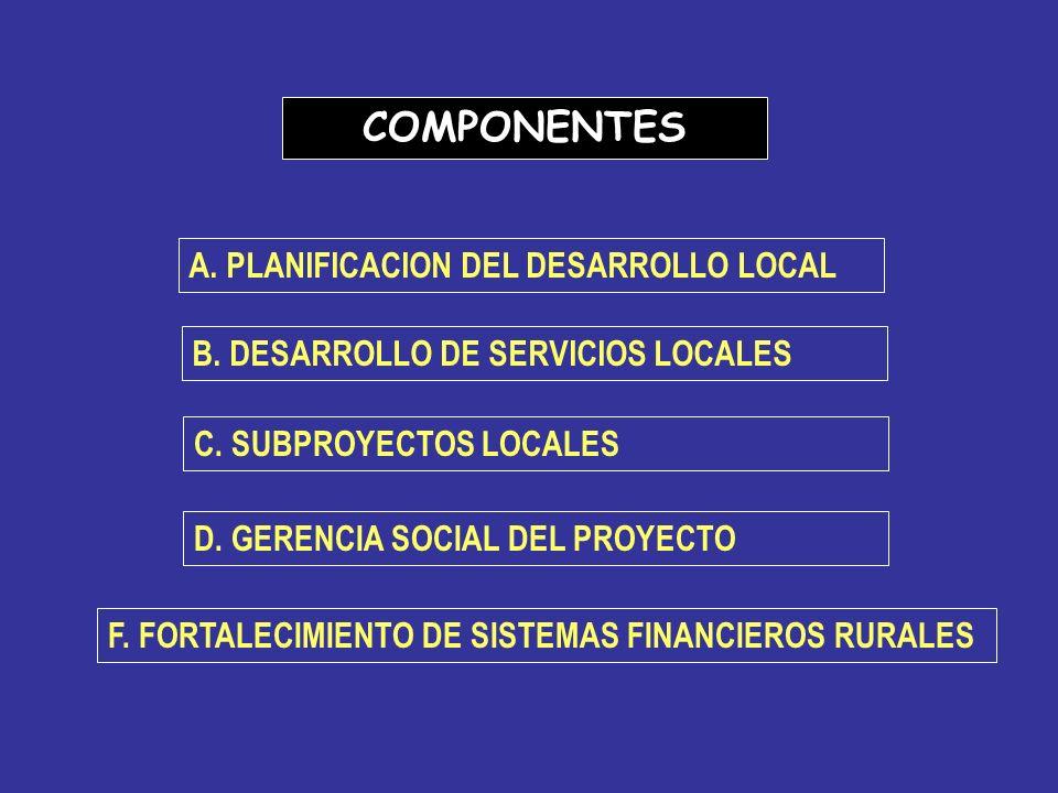 COMPONENTES A. PLANIFICACION DEL DESARROLLO LOCAL B. DESARROLLO DE SERVICIOS LOCALES C. SUBPROYECTOS LOCALES D. GERENCIA SOCIAL DEL PROYECTO F. FORTAL