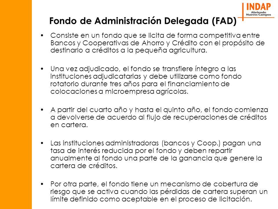 Fondo de Administración Delegada (FAD) Consiste en un fondo que se licita de forma competitiva entre Bancos y Cooperativas de Ahorro y Crédito con el propósito de destinarlo a créditos a la pequeña agricultura.