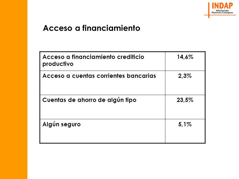 Acceso a financiamiento crediticio productivo 14,6% Acceso a cuentas corrientes bancarias2,3% Cuentas de ahorro de algún tipo23,5% Algún seguro5,1%