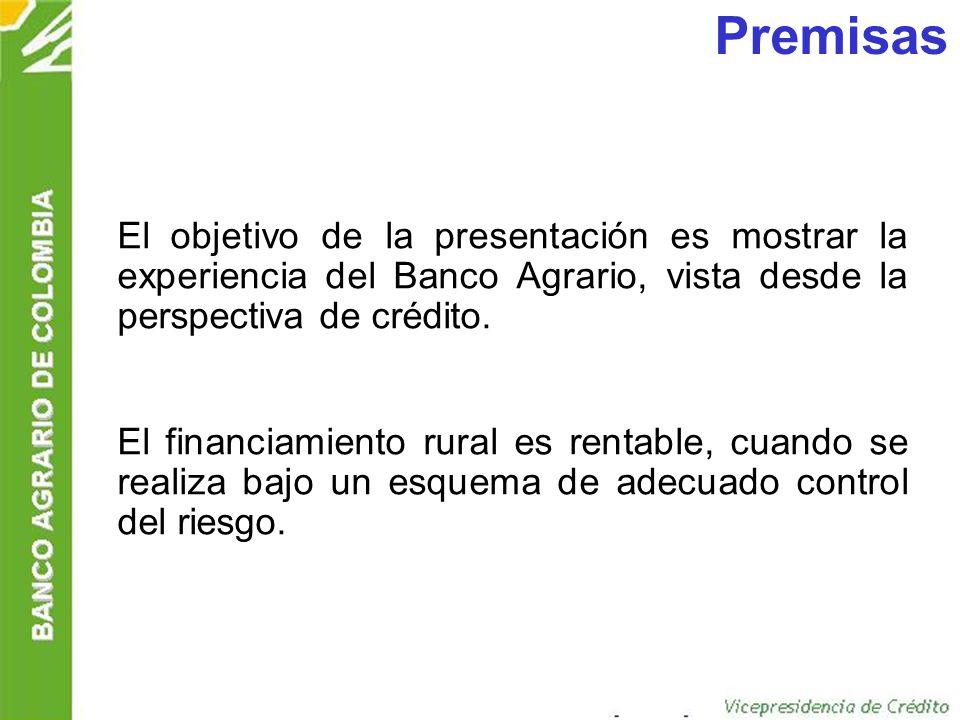 Mercado objetivo Pequeños productores: Corresponde a los usuarios de crédito que poseen las siguientes características: –Activos por valor de US $ 16.000 incluidos los del cónyuge.