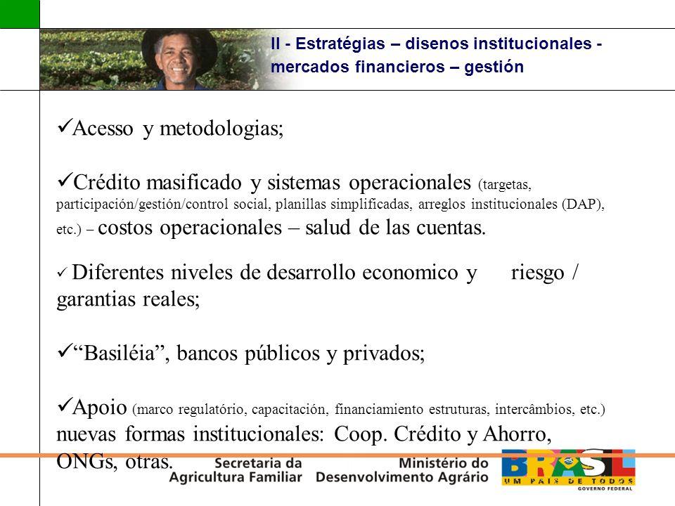 II - Estratégias – disenos institucionales - mercados financieros – gestión Acesso y metodologias; Crédito masificado y sistemas operacionales (target