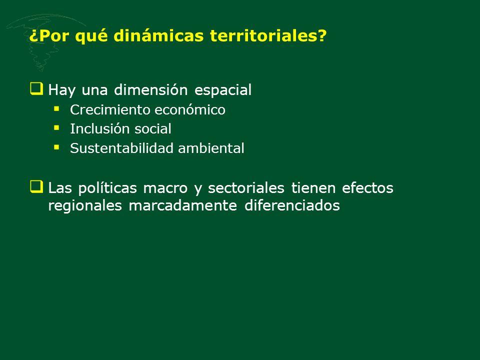 Hay una dimensión espacial Crecimiento económico Inclusión social Sustentabilidad ambiental Las políticas macro y sectoriales tienen efectos regionale