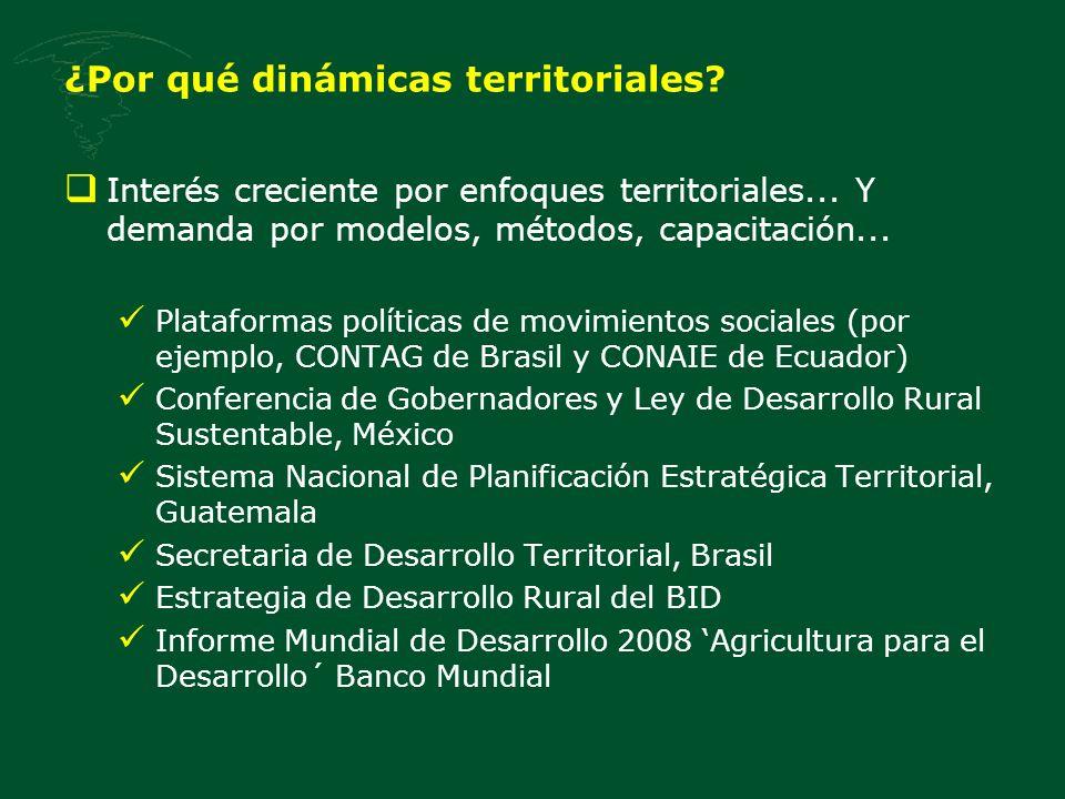 Interés creciente por enfoques territoriales... Y demanda por modelos, métodos, capacitación... Plataformas políticas de movimientos sociales (por eje