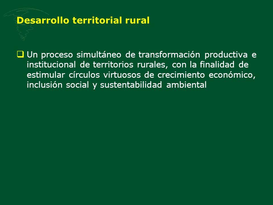 Desarrollo territorial rural Un proceso simultáneo de transformación productiva e institucional de territorios rurales, con la finalidad de estimular