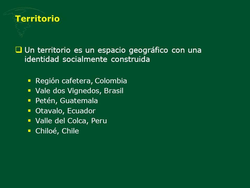 Territorio Un territorio es un espacio geográfico con una identidad socialmente construida Región cafetera, Colombia Vale dos Vignedos, Brasil Petén,