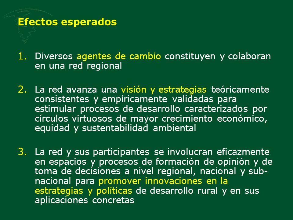 Efectos esperados 1. Diversos agentes de cambio constituyen y colaboran en una red regional 2. La red avanza una visión y estrategias teóricamente con