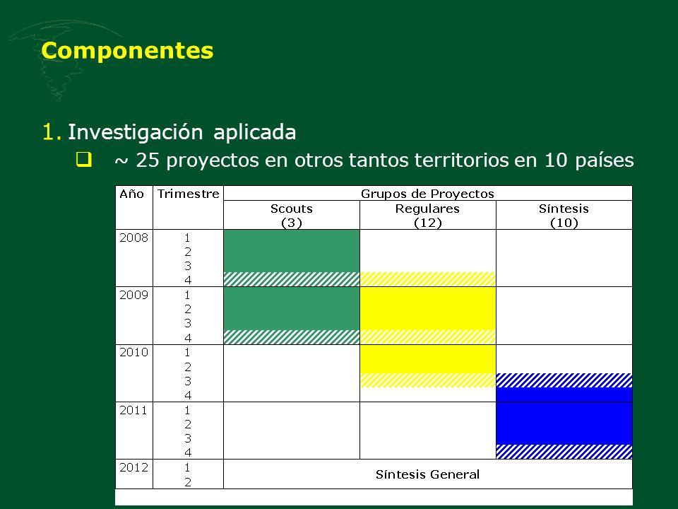 Componentes 1. Investigación aplicada ~ 25 proyectos en otros tantos territorios en 10 países