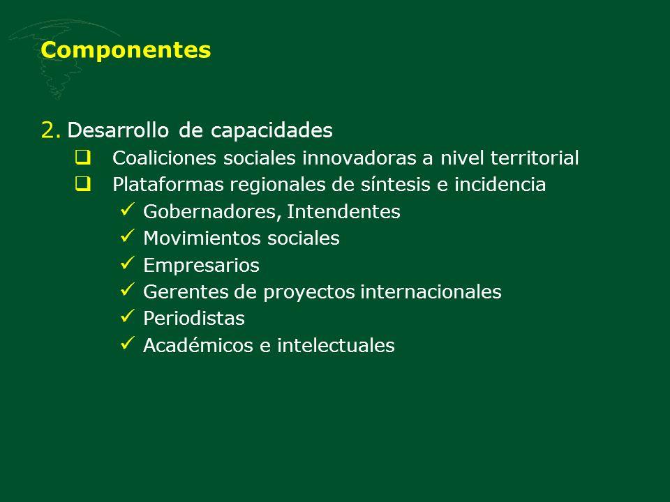 Componentes 2. Desarrollo de capacidades Coaliciones sociales innovadoras a nivel territorial Plataformas regionales de síntesis e incidencia Gobernad
