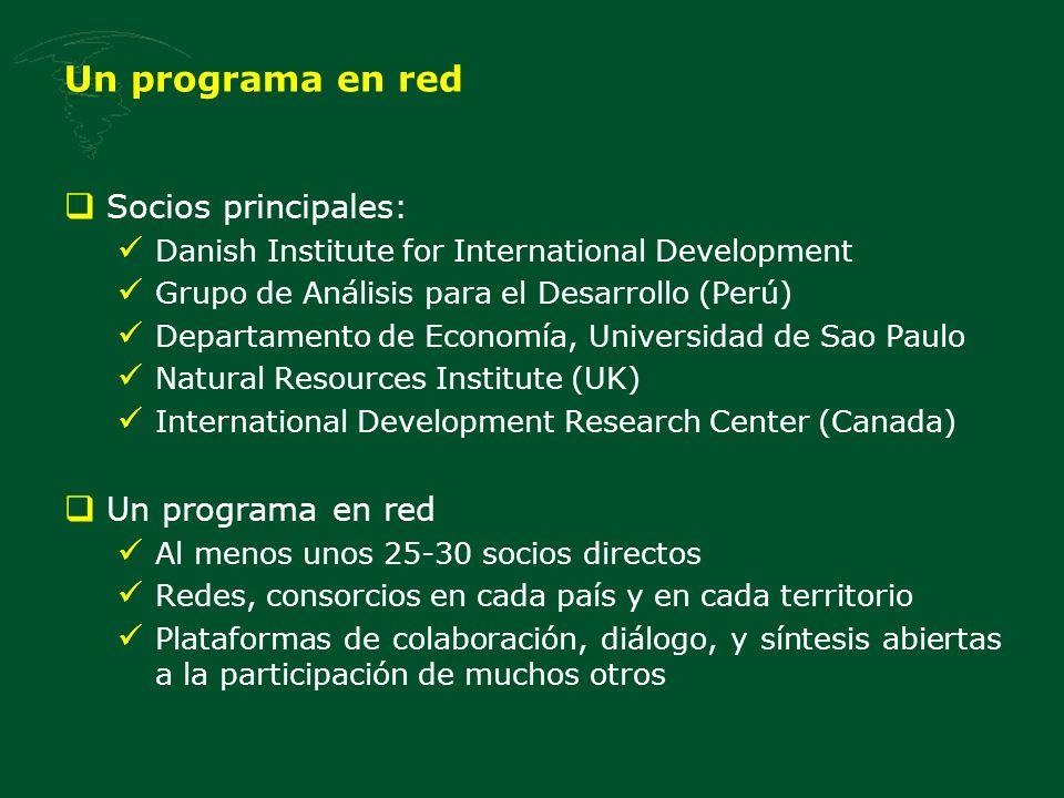 Un programa en red Socios principales: Danish Institute for International Development Grupo de Análisis para el Desarrollo (Perú) Departamento de Econ