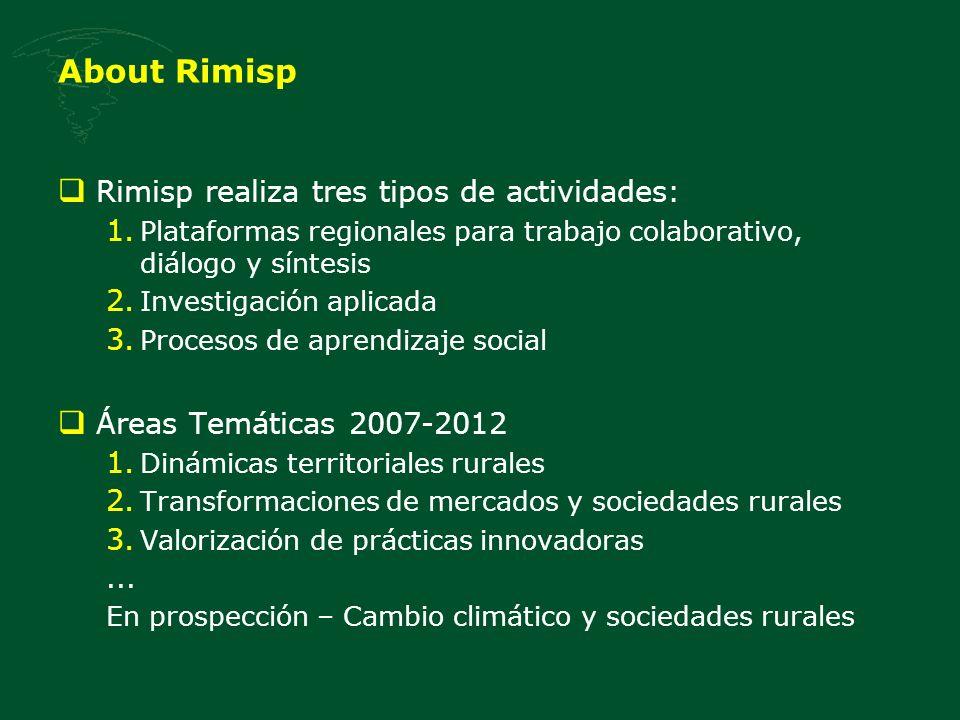 About Rimisp Rimisp realiza tres tipos de actividades: 1. Plataformas regionales para trabajo colaborativo, diálogo y síntesis 2. Investigación aplica