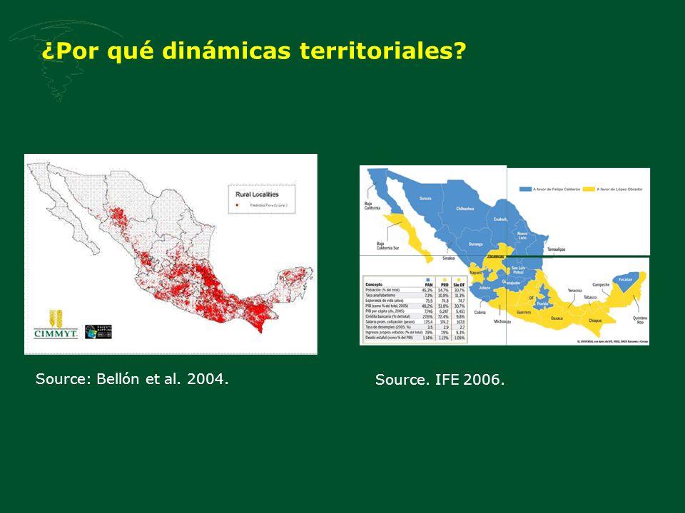 ¿Por qué dinámicas territoriales? Source: Bellón et al. 2004. Source. IFE 2006.
