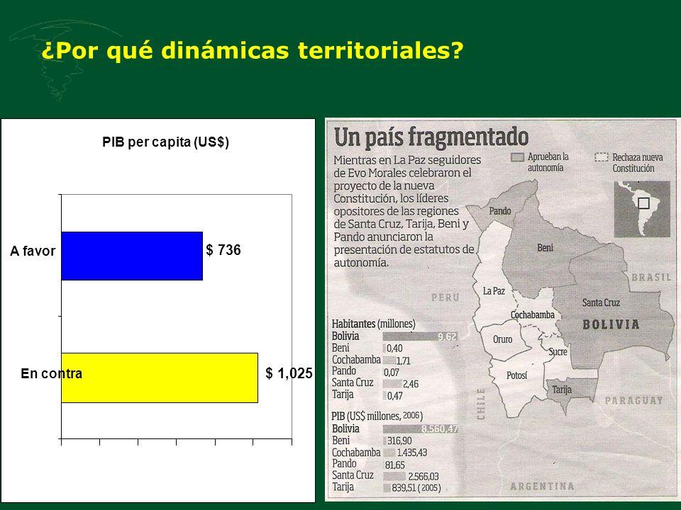 ¿Por qué dinámicas territoriales? PIB per capita (US$) $ 736 $ 1,025 En contra A favor