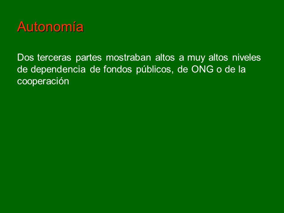 Dos terceras partes mostraban altos a muy altos niveles de dependencia de fondos públicos, de ONG o de la cooperación Autonomía