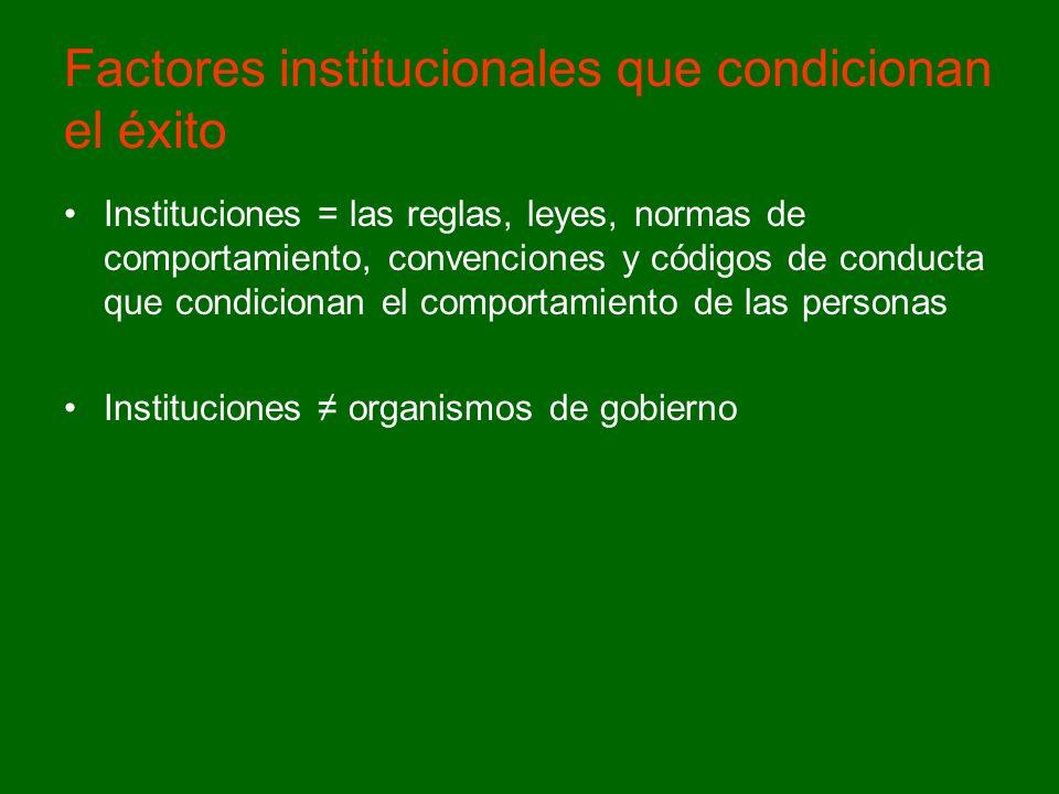 Factores institucionales que condicionan el éxito Instituciones = las reglas, leyes, normas de comportamiento, convenciones y códigos de conducta que condicionan el comportamiento de las personas Instituciones organismos de gobierno