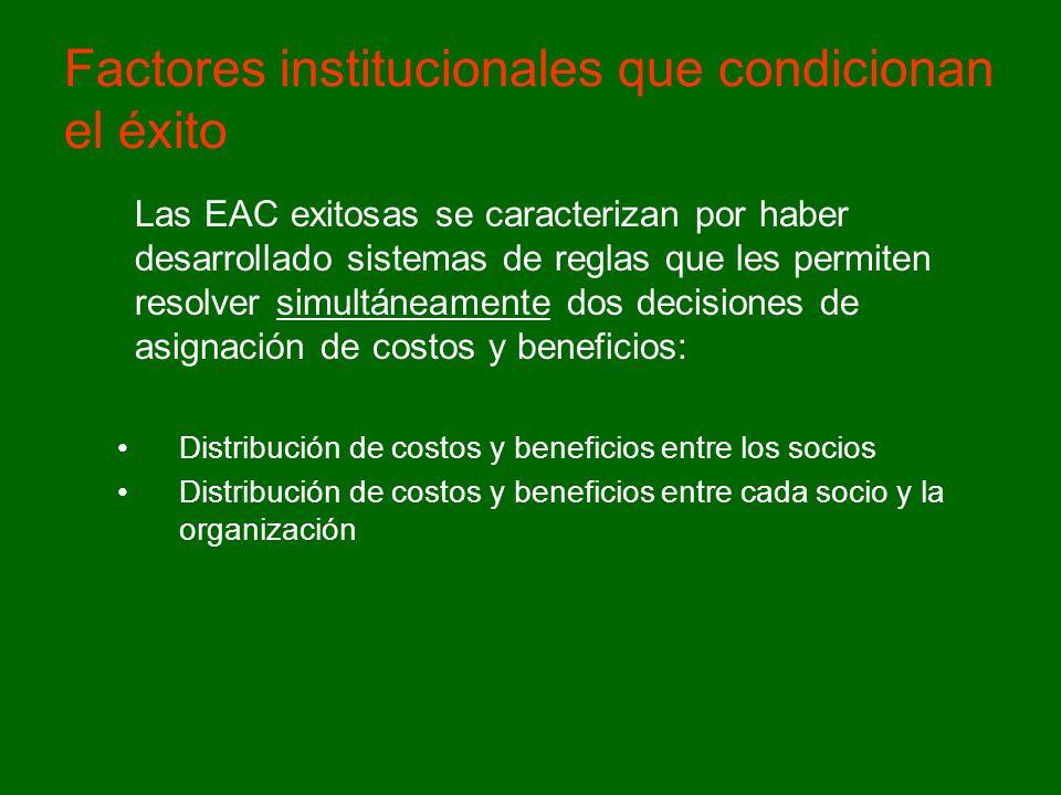 Factores institucionales que condicionan el éxito Las EAC exitosas se caracterizan por haber desarrollado sistemas de reglas que les permiten resolver simultáneamente dos decisiones de asignación de costos y beneficios: Distribución de costos y beneficios entre los socios Distribución de costos y beneficios entre cada socio y la organización