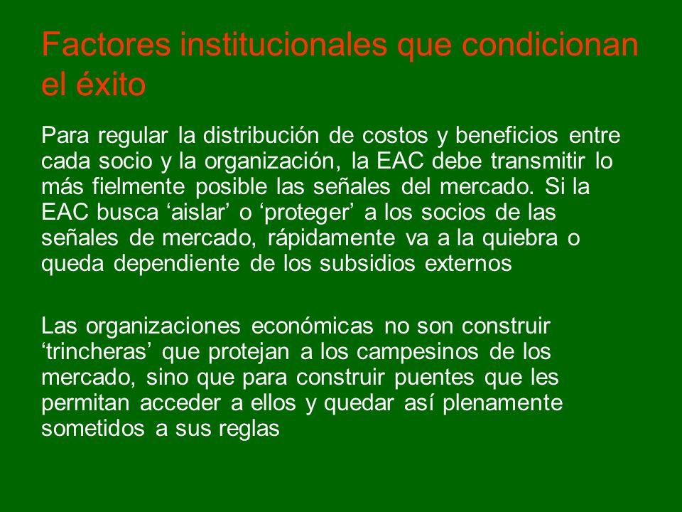 Para regular la distribución de costos y beneficios entre cada socio y la organización, la EAC debe transmitir lo más fielmente posible las señales del mercado.