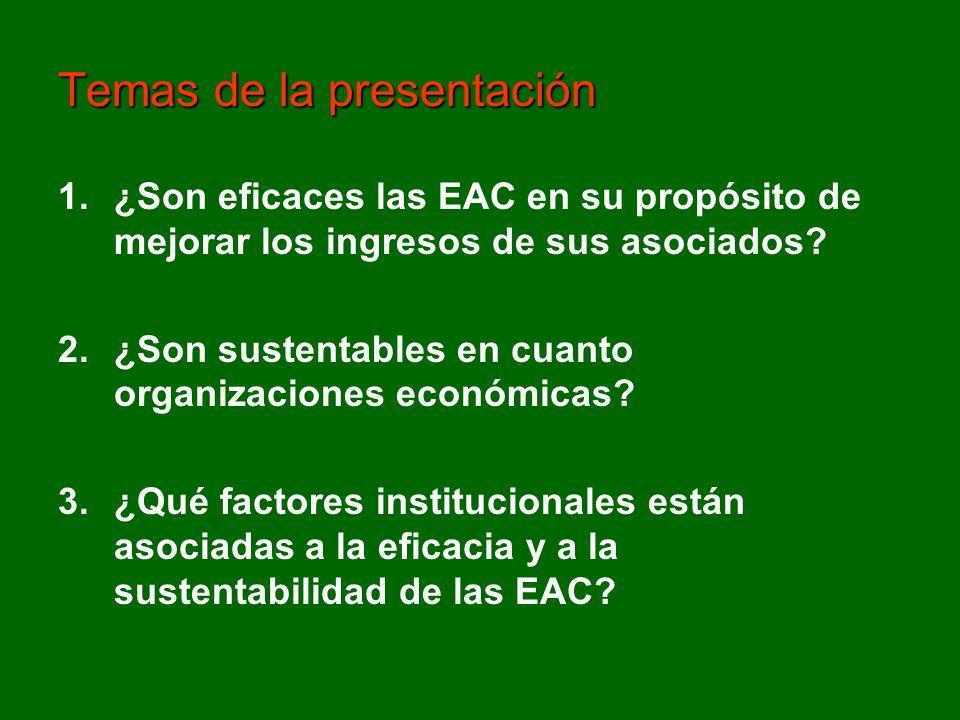 1.¿Son eficaces las EAC en su propósito de mejorar los ingresos de sus asociados? 2.¿Son sustentables en cuanto organizaciones económicas? 3.¿Qué fact