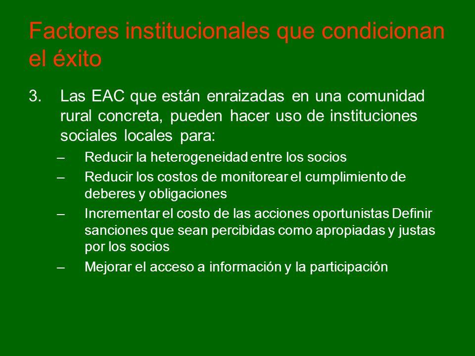 Factores institucionales que condicionan el éxito 3.Las EAC que están enraizadas en una comunidad rural concreta, pueden hacer uso de instituciones so