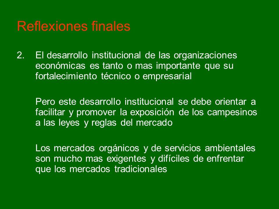 Reflexiones finales 2.El desarrollo institucional de las organizaciones económicas es tanto o mas importante que su fortalecimiento técnico o empresar