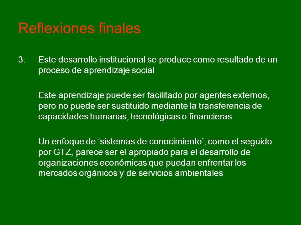 Reflexiones finales 3.Este desarrollo institucional se produce como resultado de un proceso de aprendizaje social Este aprendizaje puede ser facilitad