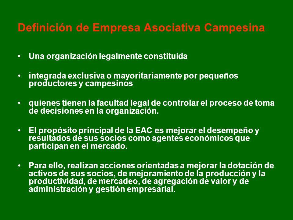 Definición de Empresa Asociativa Campesina Una organización legalmente constituida integrada exclusiva o mayoritariamente por pequeños productores y c