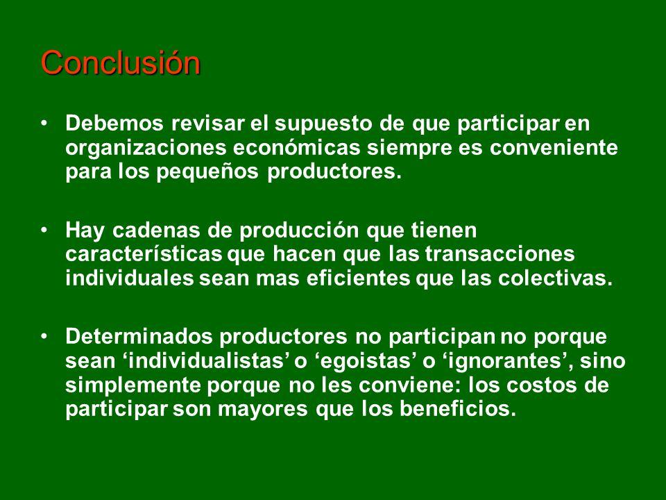 Debemos revisar el supuesto de que participar en organizaciones económicas siempre es conveniente para los pequeños productores. Hay cadenas de produc