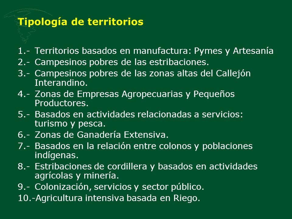 Tipología de territorios 1.-Territorios basados en manufactura: Pymes y Artesanía 2.-Campesinos pobres de las estribaciones.
