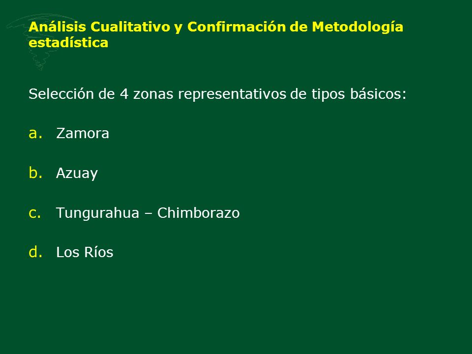 Análisis Cualitativo y Confirmación de Metodología estadística Selección de 4 zonas representativos de tipos básicos: a.