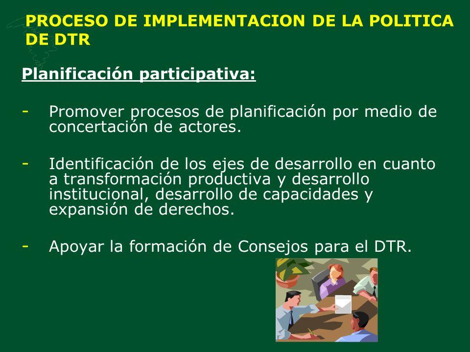 PROCESO DE IMPLEMENTACION DE LA POLITICA DE DTR Planificación participativa: - Promover procesos de planificación por medio de concertación de actores.