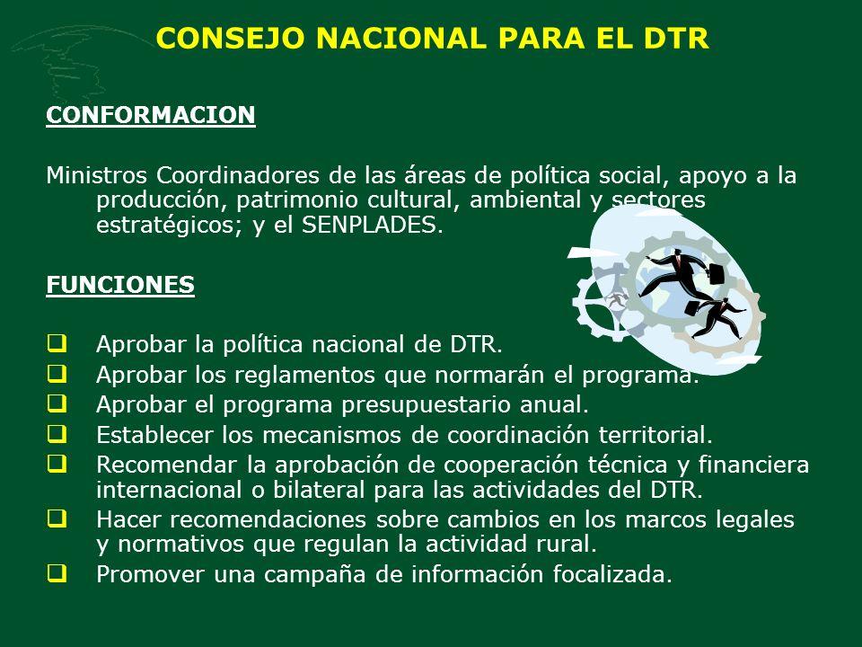 CONSEJO NACIONAL PARA EL DTR CONFORMACION Ministros Coordinadores de las áreas de política social, apoyo a la producción, patrimonio cultural, ambiental y sectores estratégicos; y el SENPLADES.
