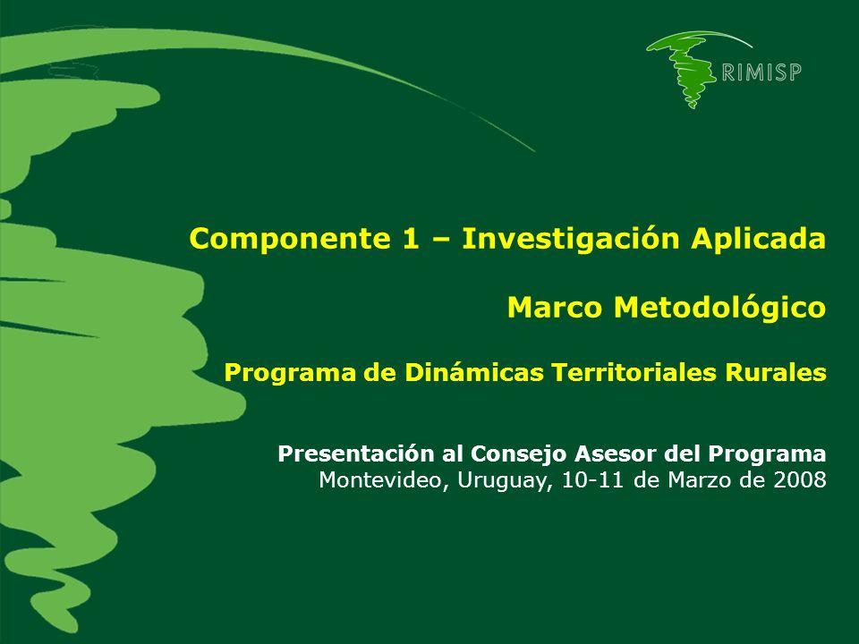 Componente 1 – Investigación Aplicada Marco Metodológico Programa de Dinámicas Territoriales Rurales Presentación al Consejo Asesor del Programa Montevideo, Uruguay, 10-11 de Marzo de 2008