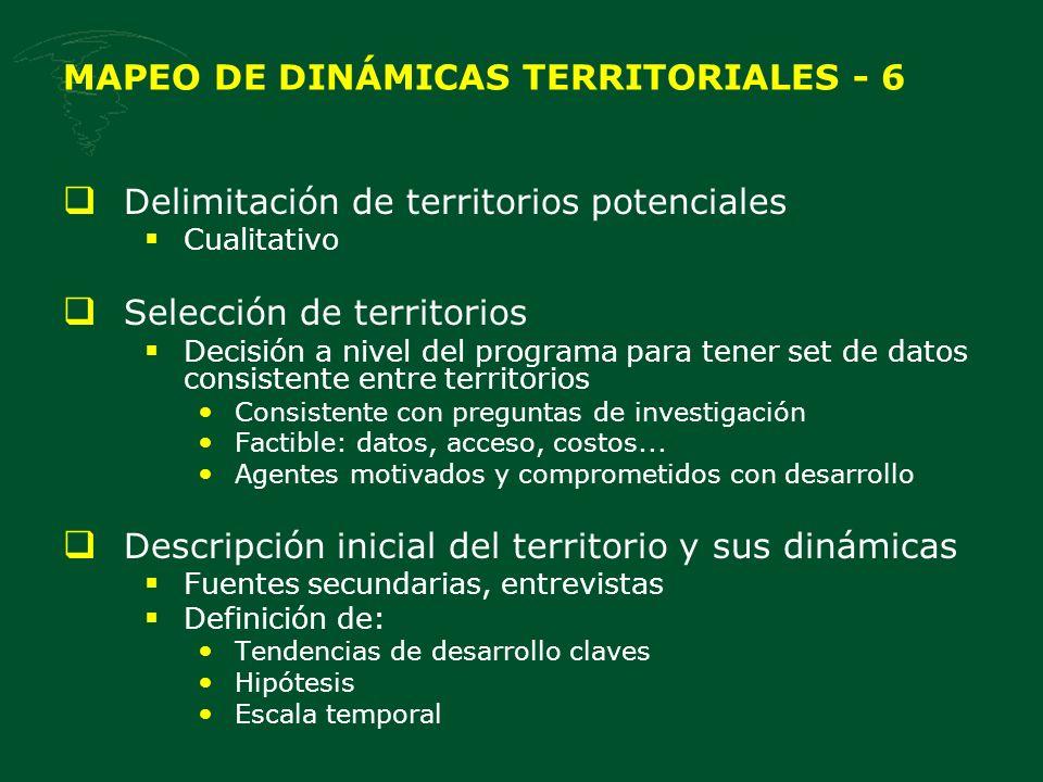 Delimitación de territorios potenciales Cualitativo Selección de territorios Decisión a nivel del programa para tener set de datos consistente entre territorios Consistente con preguntas de investigación Factible: datos, acceso, costos...