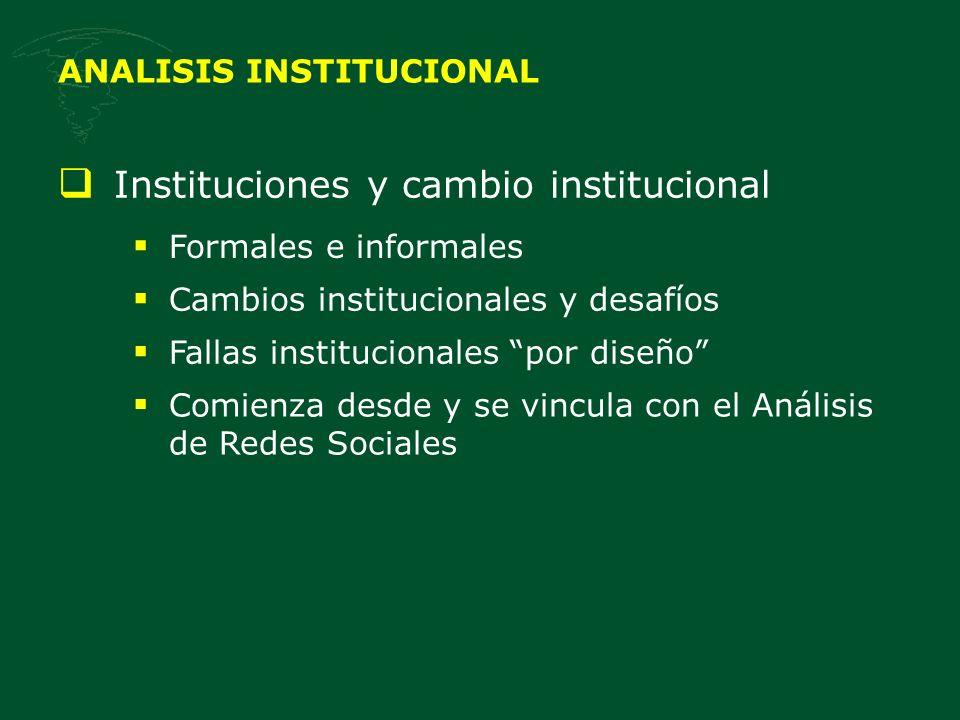 ANALISIS INSTITUCIONAL Instituciones y cambio institucional Formales e informales Cambios institucionales y desafíos Fallas institucionales por diseño Comienza desde y se vincula con el Análisis de Redes Sociales