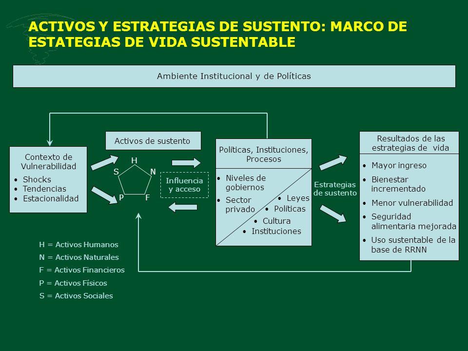 ACTIVOS Y ESTRATEGIAS DE SUSTENTO: MARCO DE ESTATEGIAS DE VIDA SUSTENTABLE Ambiente Institucional y de Políticas Shocks Tendencias Estacionalidad Acti