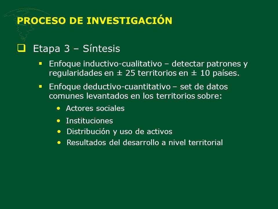 PROCESO DE INVESTIGACIÓN Etapa 3 – Síntesis Enfoque inductivo-cualitativo – detectar patrones y regularidades en ± 25 territorios en ± 10 países. Enfo