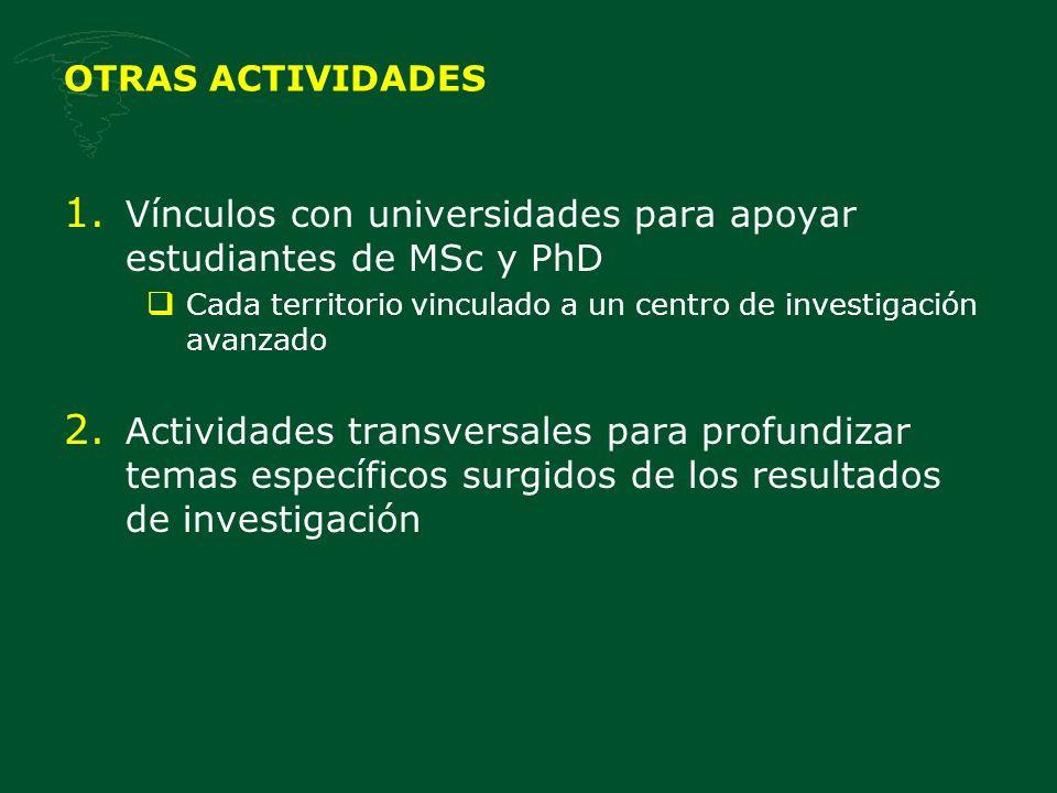 OTRAS ACTIVIDADES 1. Vínculos con universidades para apoyar estudiantes de MSc y PhD Cada territorio vinculado a un centro de investigación avanzado 2