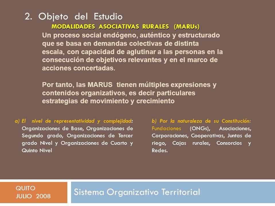Sistema Organizativo Territorial QUITO JULIO 2008 Un proceso social endógeno, auténtico y estructurado que se basa en demandas colectivas de distinta escala, con capacidad de aglutinar a las personas en la consecución de objetivos relevantes y en el marco de acciones concertadas.
