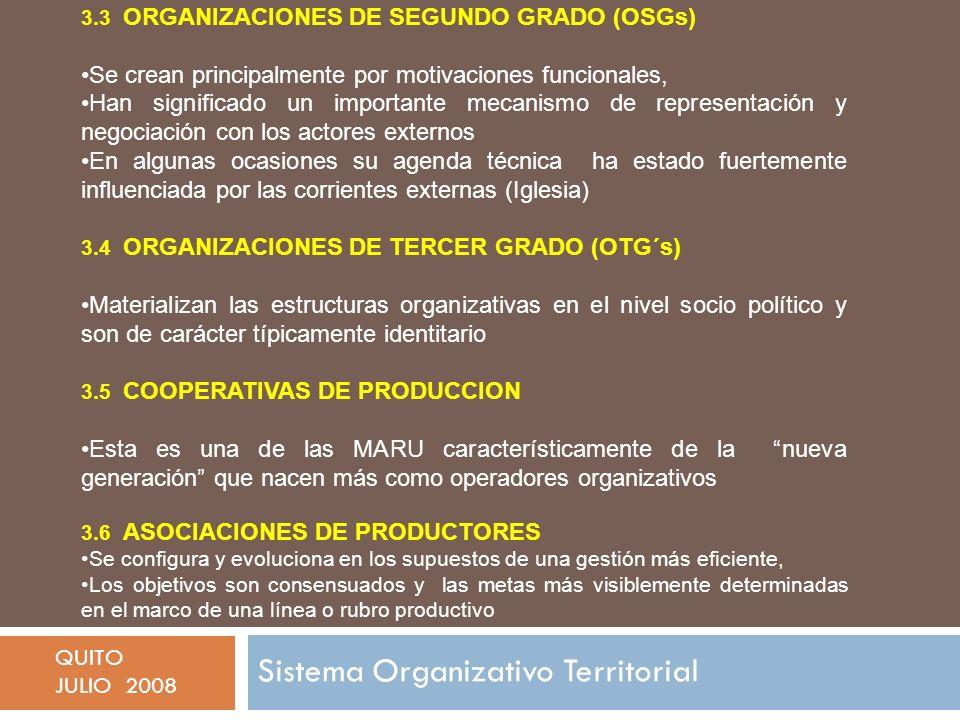 Sistema Organizativo Territorial QUITO JULIO 2008 3.3 ORGANIZACIONES DE SEGUNDO GRADO (OSGs) Se crean principalmente por motivaciones funcionales, Han significado un importante mecanismo de representación y negociación con los actores externos En algunas ocasiones su agenda técnica ha estado fuertemente influenciada por las corrientes externas (Iglesia) 3.4 ORGANIZACIONES DE TERCER GRADO (OTG´s) Materializan las estructuras organizativas en el nivel socio político y son de carácter típicamente identitario 3.5 COOPERATIVAS DE PRODUCCION Esta es una de las MARU característicamente de la nueva generación que nacen más como operadores organizativos 3.6 ASOCIACIONES DE PRODUCTORES Se configura y evoluciona en los supuestos de una gestión más eficiente, Los objetivos son consensuados y las metas más visiblemente determinadas en el marco de una línea o rubro productivo