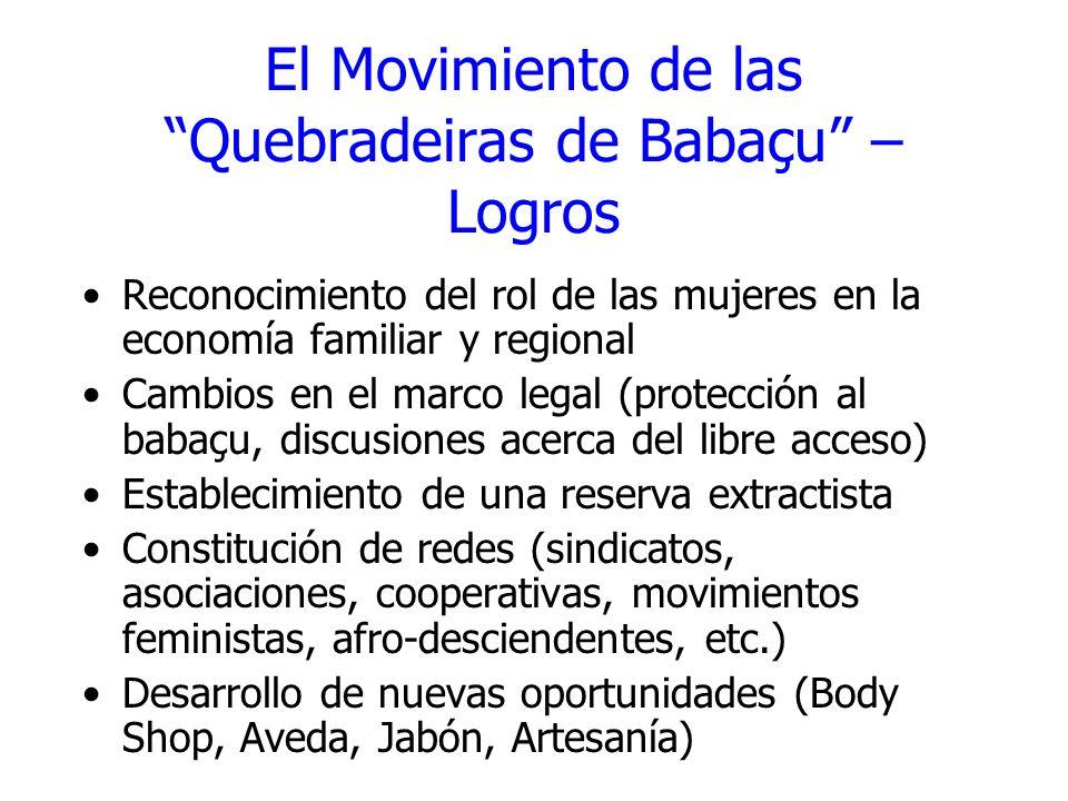El Movimiento de las Quebradeiras de Babaçu – Logros Reconocimiento del rol de las mujeres en la economía familiar y regional Cambios en el marco lega