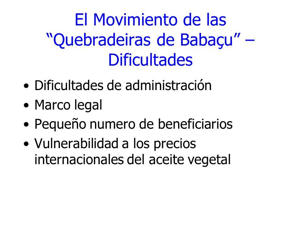 El Movimiento de las Quebradeiras de Babaçu – Dificultades Dificultades de administración Marco legal Pequeño numero de beneficiarios Vulnerabilidad a
