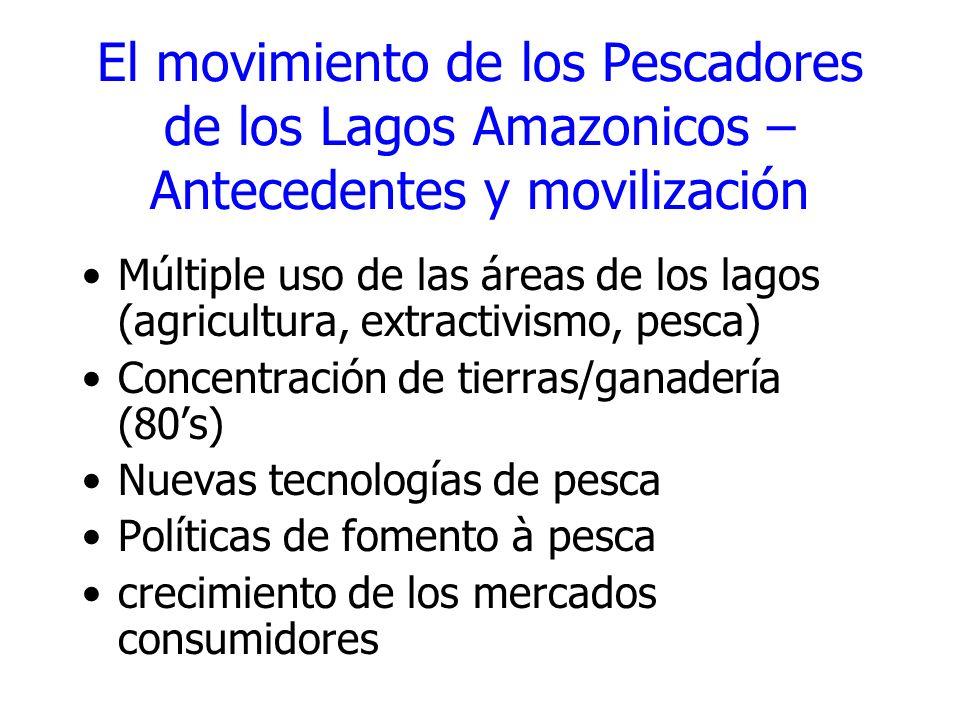 El movimiento de los Pescadores de los Lagos Amazonicos – Antecedentes y movilización Múltiple uso de las áreas de los lagos (agricultura, extractivis