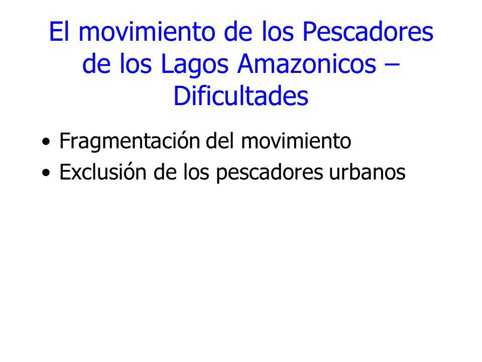 El movimiento de los Pescadores de los Lagos Amazonicos – Dificultades Fragmentación del movimiento Exclusión de los pescadores urbanos