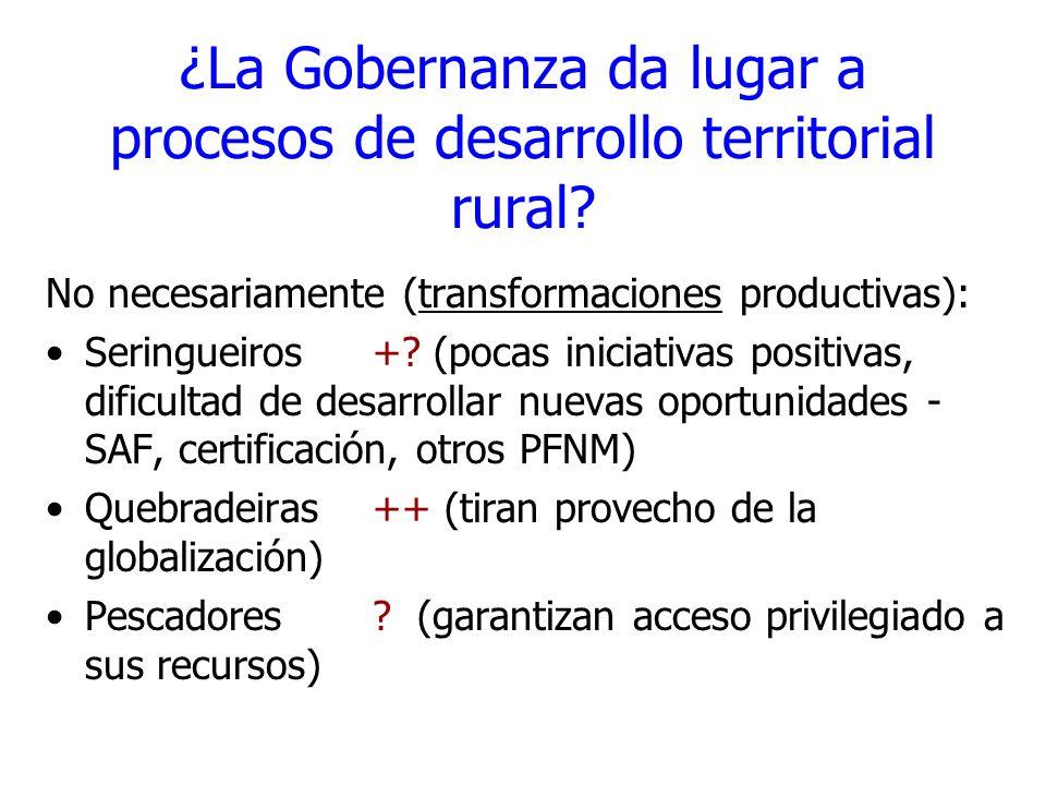 ¿La Gobernanza da lugar a procesos de desarrollo territorial rural? No necesariamente (transformaciones productivas): Seringueiros +? (pocas iniciativ