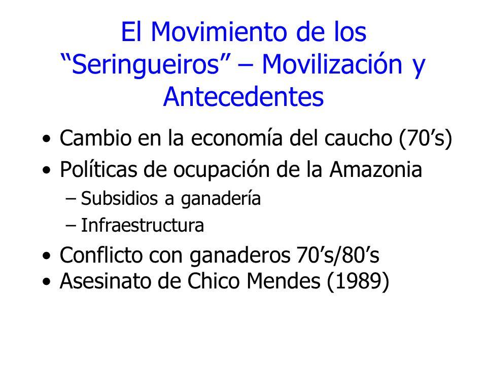 El Movimiento de los Seringueiros – Movilización y Antecedentes Cambio en la economía del caucho (70s) Políticas de ocupación de la Amazonia –Subsidio