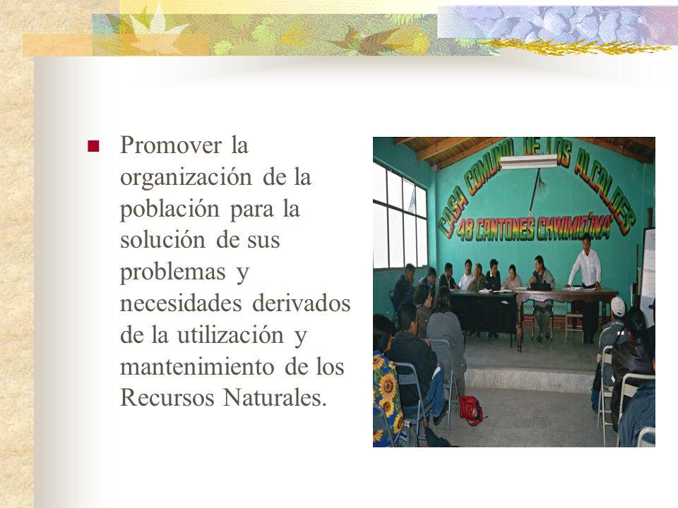 Promover la organización de la población para la solución de sus problemas y necesidades derivados de la utilización y mantenimiento de los Recursos N