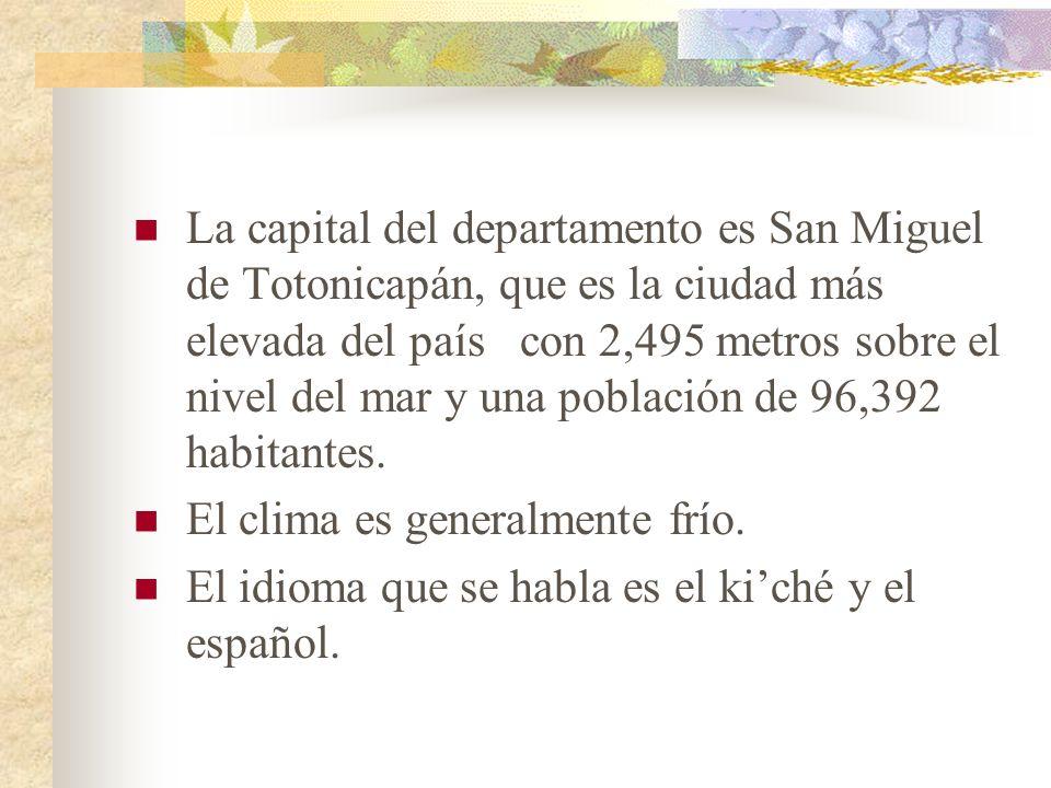 La capital del departamento es San Miguel de Totonicapán, que es la ciudad más elevada del país con 2,495 metros sobre el nivel del mar y una població